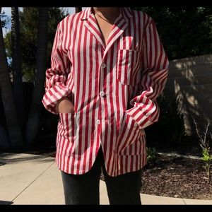 Vintage White and Red Striped Buttondown / Jacket
